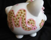 personalized piggy bank leopard print pink and brown initial bling