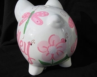 personalized ceramic piggy bank ladybug dragonfly shabby chic pink
