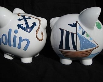personalized piggy bank sailboat nautical pirate ships ahoy