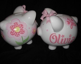 personalized piggy bank spring bouquet