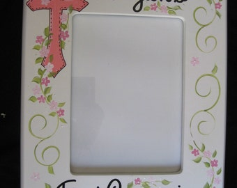 hand painted personalized first communion picture frame