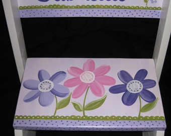 personalized chair flip step stool delicate daisy garden lavendar