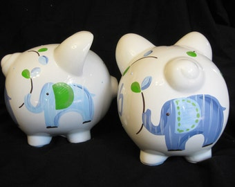 personalized hand painted piggy bank eli's elephants on parade