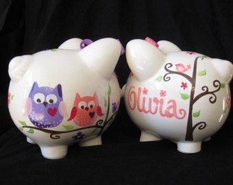 piggy bank hand painted personalized pink and purple dena owl