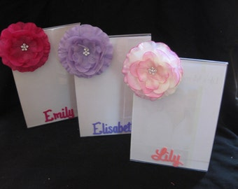 personalized party favor lucite frame with flower bling 5x7