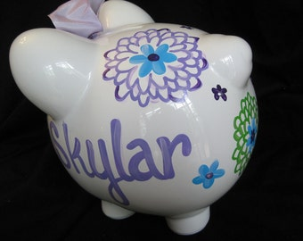 personalized hand painted piggy bank madison pbk flower