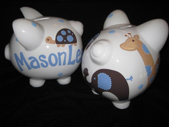 personalized piggy bank blue and brown jake design elephant turtle giraffe