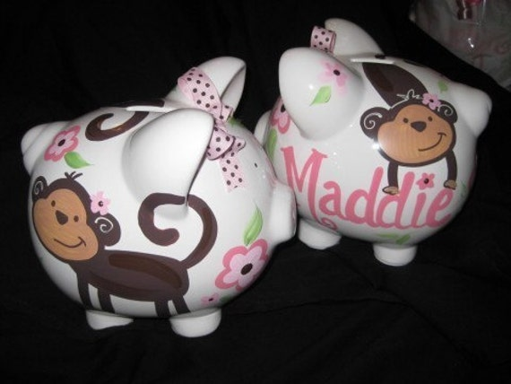 Personalized Piggy Bank Love Bugs Monkey Pink And Brown