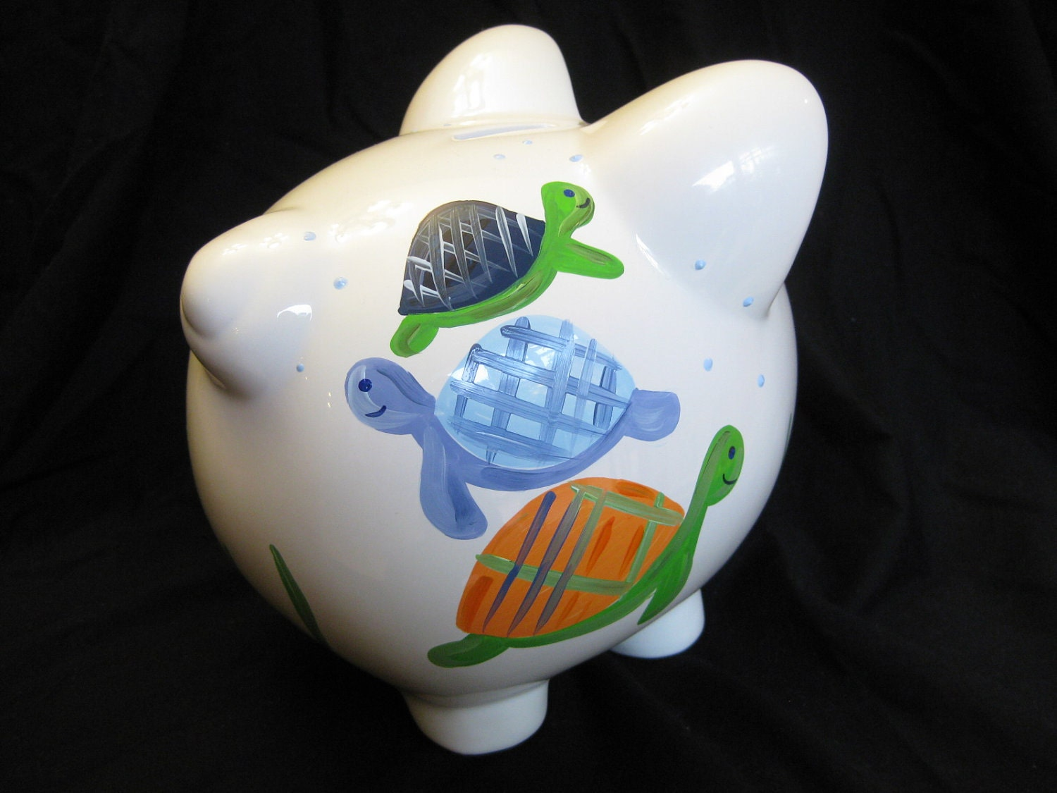 Hand Painted Personalized Piggy Bank Turtle Reef Sea Turtles