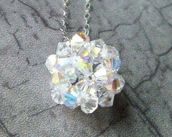 Bridal Simple Crystal Ball Necklace- Bridal, Wedding, Bridesmaid Gift
