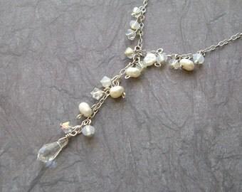 Bridal Pearl and crystal Y Necklace- Dewdrop- Bridal, Bride, Wedding, Bridesmaid gift