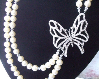 Bridal Butterfly Pearl and Crystal Necklace- Wedding