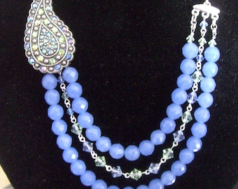 SALE- Chalcedony Blue India Necklace