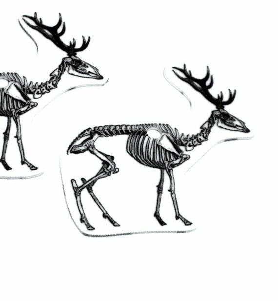 Deer Skeleton Charms 2pc ... handcut