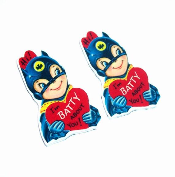Bat Man Valentine charms 2pc (PL1045) ..  jewelry making, vampire, super hero, valentines day, retro, dimestore, diy