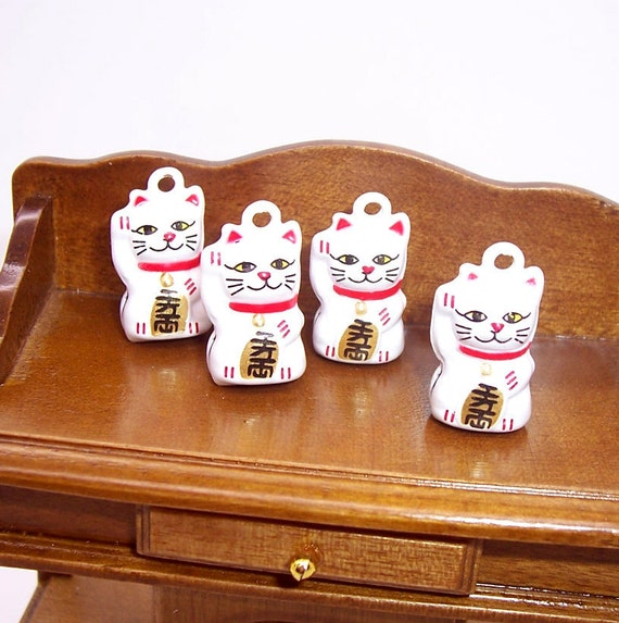 Lucky CAT Bell pendant charms 4PC