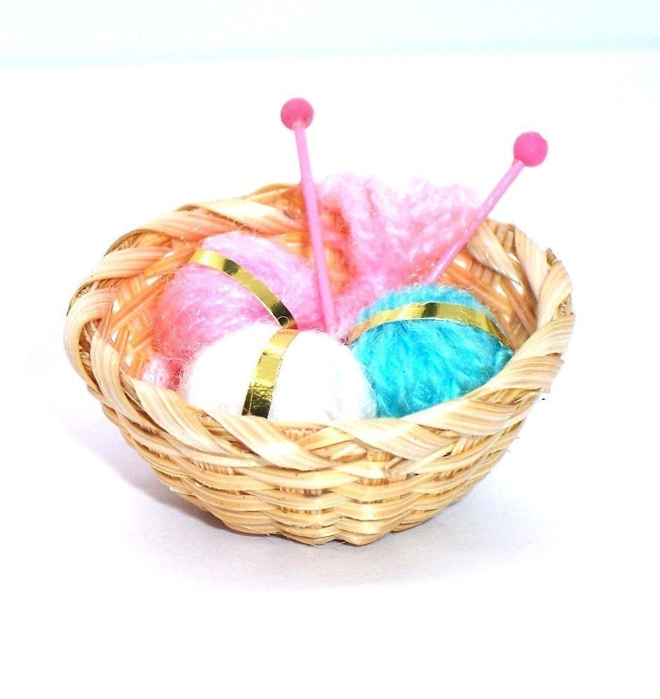 Knitting Basket Yarn : Knitting basket miniature yarn needles supply