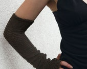 Taupe Brown Teak Arm Warmers zigzac style