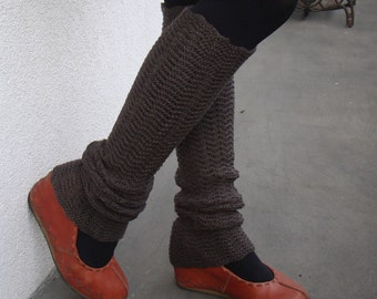 Brown Leg Warmers Womens Legwear Woolen Yoga Socks