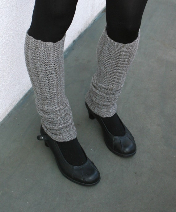 Leg Warmers Taupe and Gray Zigzag Style Merino Blend Spats Boot Socks