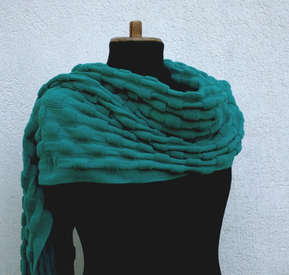 Teal Ocean Blue Shawl Chess Check  structure  wrap or scarf and set of arm and leg warmers reserved for Laura