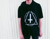 TRIANGLE and CROSS Tee - Oversized 2XL Black Super Thin Cotton Tee Shirt Occult Symbol Inverted