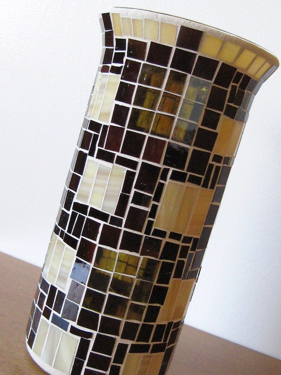 20% OFF - Stained Glass Mosaic Vase in Brown-Tan-Olive