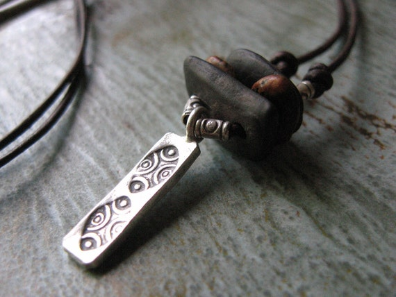 Lake Stone-Silver-Leather Adjustable Necklace