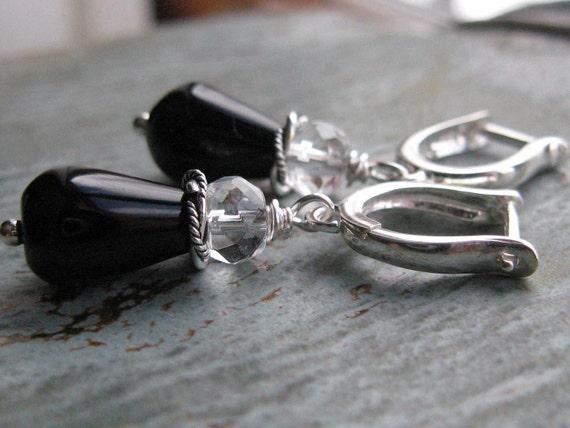 Black Onyx and Quartz Crystal Earrings