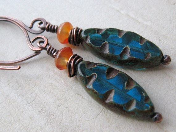 Teal Blue-Orange and Copper Earrings