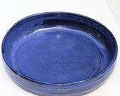 Serving  Dish of Stoneware Clay in  Cobalt Blue