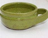 Shaving Mug in Stoneware with Bright Green Glaze