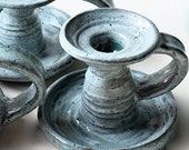 Stoneware Candlestick with Soft Blue Green Glaze