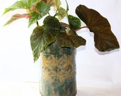 Wall Vase Planter in Stoneware and  Lace Embossed with Leaves and Flowers