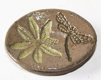 Pottery Second Stoneware Dish with Lace Applique Embossed