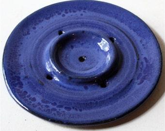 Cobalt  Blue Stoneware Soap Dish