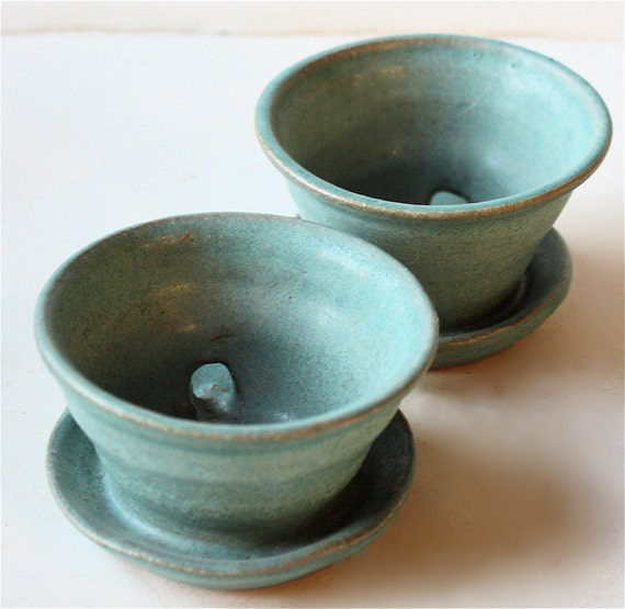 Turquoise Succulent Planter Pair Three Inches Wide and About Two Inches  High
