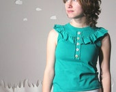Eco friendly tank embellished romantic ruffle top made to order FRESHLY PICKED