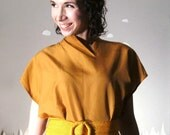 Oversized blouse revamped vintage with zipper in ochre medium CATCH THE WIND