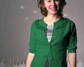 Eco friendly sweatshirt cardigan handmade green custom SUGAR FREE