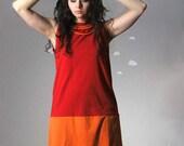 Upcycled dress color block red orange embellished large NIGHT SHIFT