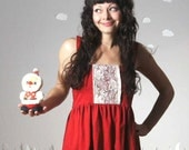 Upcycled dress lace embroidered feminine festive red small DEAR DARLING