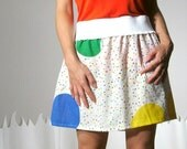 Eco Friendly flirty vintage fabric colorful skirt large SPRINKLES