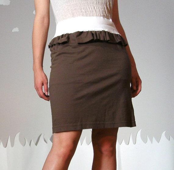 Ruffled eco cotton pencil skirt medium COFFEE LIQUEUR
