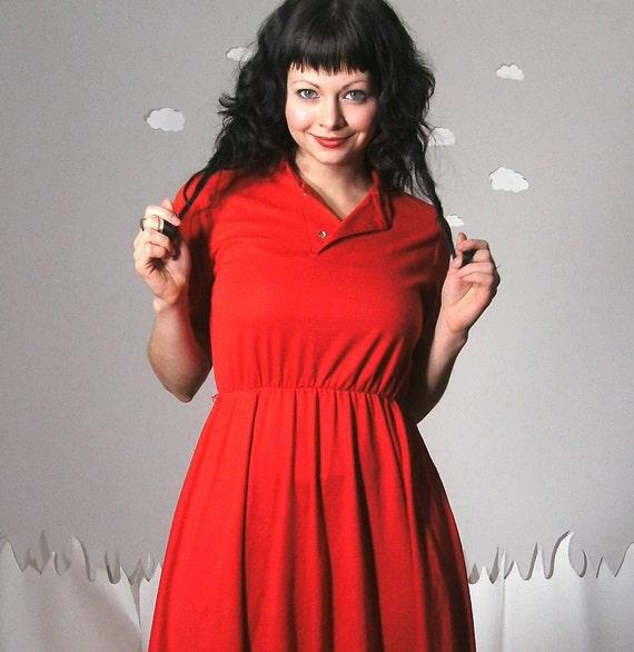 Red cotton vintage swing dress medium BE MINE