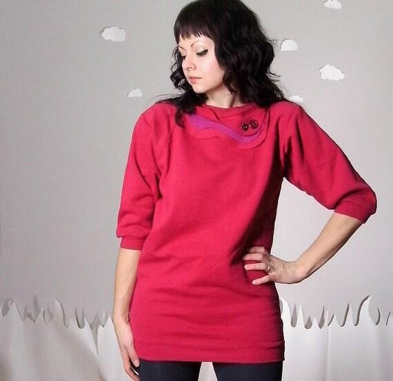 Long sweatshirt tunic bright magenta red cozy eco-friendly medium IN SEASON