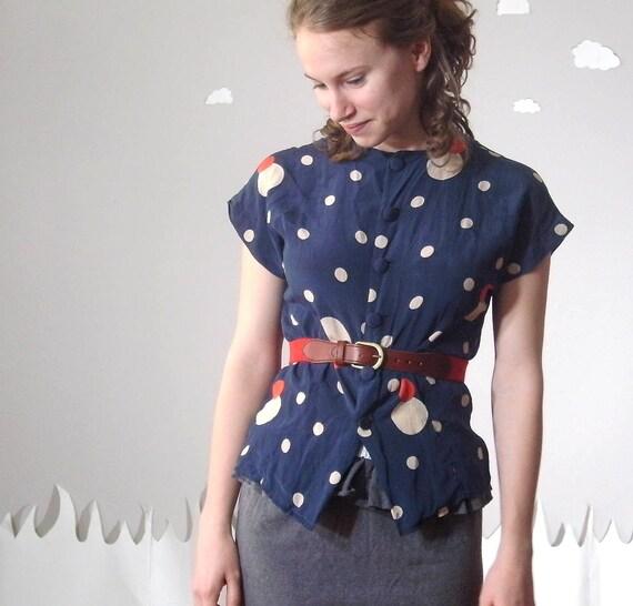 THE FOURTH elegant vintage navy polka dot blouse medium