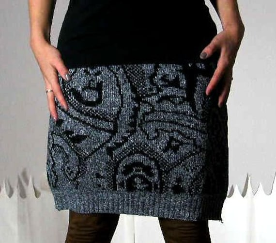 Sweater skirt fitted upcycled abstract print grey black extra large COSBY SKIRT