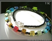 Rainbow Glass Cubes Necklace
