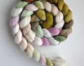 "Silk/ Polwarth Roving (Top) - Handpainted Spinning or Felting Fiber, ""Lotus"""